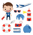 travel set flat icons smiling tourist editable vector image