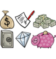 valuable objects cartoon set vector image