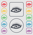 eyelashes icon sign symbol on the Round and square vector image