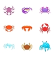Seafood icons set cartoon style vector image