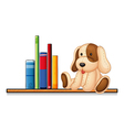 A shelf with books and a toy vector image