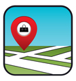Street map icon with the pointer store bags vector image vector image
