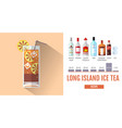 flat style cocktail long island ice tea menu vector image