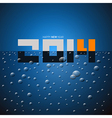 Happy New Year 2014 Title on Blue Drink vector image