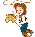 cowboy child with lasso and toy horse vector image