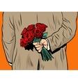 Flower bouquet roses gift surprise vector image