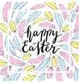 Happy Easter card template Hand lettering vector image vector image