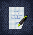 blank note paper with green pen vector image vector image