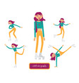 set with lovely young girl character on vector image