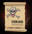 skull extreme danger vector image