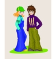 Teens girl and boy in fashionable clothing vector image