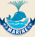 Whale splashing water and banner vector image