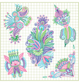 hand draw doodle flower element set vector image vector image