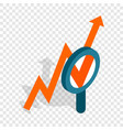 magnifier and growth chart isometric icon vector image