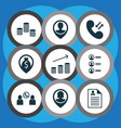 set of 9 hr icons includes coins growth employee vector image