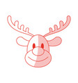 red shading silhouette cartoon cute face reindeer vector image