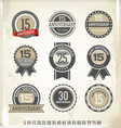 Anniversary retro labels vector image