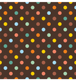 Seamless pattern with colorful polka dots on brown vector image