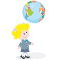 Schoolgirl with a globe - balloon vector image