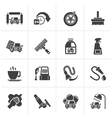 Black car wash objects and icons vector image