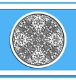 Round floral pattern on blue background vector image