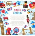 Great Britain travel card template with famous vector image