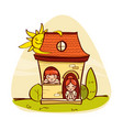 llittle house with kids vector image