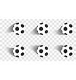 set of soccer balls football shot goal sport vector image