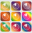 radar icon sign Nine buttons with bright vector image
