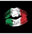 Flag lipstick on grunge lips vector image vector image