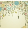 Vintage background with doodle flowers and keys vector image