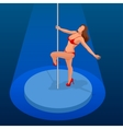 Young sexy woman exercise pole dance on a dark vector image