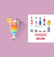 flat style rainbow cocktail menu design vector image