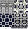 Vintage ornamental backgrounds blue set vector image