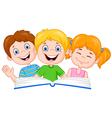 Cartoon kids reading book vector image