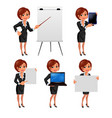 Cartoon business woman presentation set2 vector image