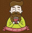 Coffee tea man vector image