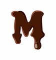 Letter M from latin alphabet made of chocolate vector image