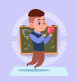 small school boy in love hold heart shape standing vector image