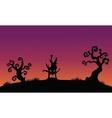 Tree monster halloween silhouette backgrounds vector image