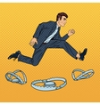 Successful Businessman Jumping Over the Trap vector image vector image