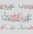seamless pattern with drawn flowers roses with vector image