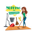 house mopping and sweeping poster vector image
