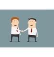 Cartooned businessmen shaking hands closing deal vector image vector image