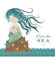 Beautiful mermaid girl sitting on the rock vector image