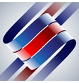 Red and blue shiny curved ribbons on white vector image