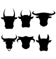 Set of Bull Heads Silhouettes vector image
