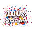 100 guarantee paper card vector image