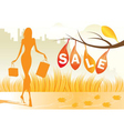 autumn background with shopping woman vector image