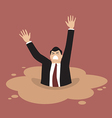 Businessman sinking in a puddle of quicksand vector image